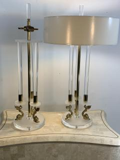 Maison Charles CLEAR FROSTED LUCITE WITH BRASS DOLPHIN LAMPS IN THE MANNER OF MAISON CHARLES - 1033132