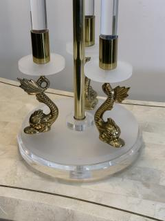 Maison Charles CLEAR FROSTED LUCITE WITH BRASS DOLPHIN LAMPS IN THE MANNER OF MAISON CHARLES - 1033134