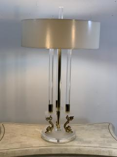 Maison Charles CLEAR FROSTED LUCITE WITH BRASS DOLPHIN LAMPS IN THE MANNER OF MAISON CHARLES - 1033135