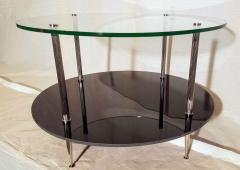 Maison Charles Glass and Vitrolite Maison Charles Neo Classic Coffee Table 1960s  - 1816904
