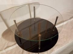 Maison Charles Glass and Vitrolite Maison Charles Neo Classic Coffee Table 1960s  - 1816909