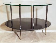 Maison Charles Glass and Vitrolite Maison Charles Neo Classic Coffee Table 1960s  - 1816910