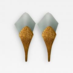Maison Charles Pair of Bronze Sconces Nefertiti by Maison Charles France 1970s - 1165958