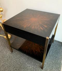 Maison Charles Pair of Lacquered and Bronze Tables by Maison Charles France 1970s - 1187961