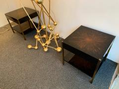 Maison Charles Pair of Lacquered and Bronze Tables by Maison Charles France 1970s - 1187963