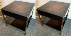 Maison Charles Pair of Lacquered and Bronze Tables by Maison Charles France 1970s - 1187968