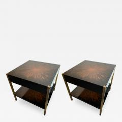 Maison Charles Pair of Lacquered and Bronze Tables by Maison Charles France 1970s - 1188098