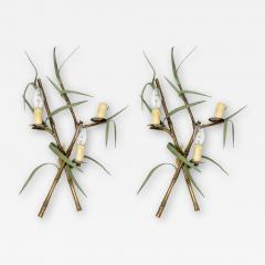Maison Charles Pair of bronze Bamboo sconces by Maison Charles - 1722365