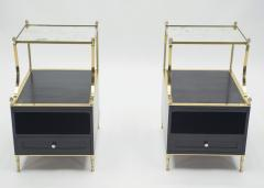 Maison Charles Rare Pair of French Maison Charles brass mirrored end tables 1950s - 1119886