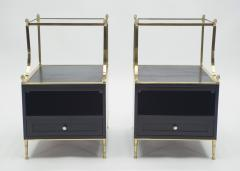 Maison Charles Rare Pair of French Maison Charles brass mirrored end tables 1950s - 1119888
