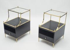 Maison Charles Rare Pair of French Maison Charles brass mirrored end tables 1950s - 1119889