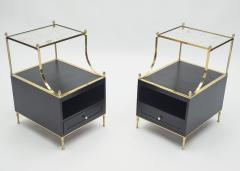 Maison Charles Rare Pair of French Maison Charles brass mirrored end tables 1950s - 1119890