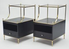 Maison Charles Rare Pair of French Maison Charles brass mirrored end tables 1950s - 1119892