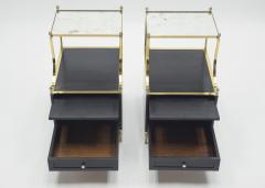 Maison Charles Rare Pair of French Maison Charles brass mirrored end tables 1950s - 1119895