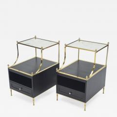 Maison Charles Rare Pair of French Maison Charles brass mirrored end tables 1950s - 1122616