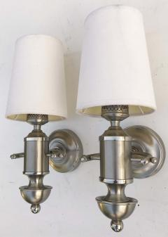 Maison Charles Signed Pair of Silver Maison Charles Sconces  - 973160