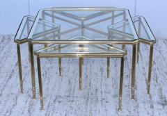 Maison Jansen 1950s Mid Century Modern Italian Brass Coffee Table With Nesting Side Tables - 1903175