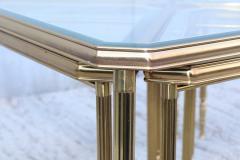 Maison Jansen 1950s Mid Century Modern Italian Brass Coffee Table With Nesting Side Tables - 1903178