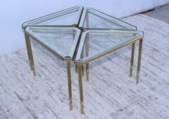 Maison Jansen 1950s Mid Century Modern Italian Brass Coffee Table With Nesting Side Tables - 1903181