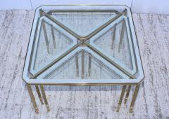 Maison Jansen 1950s Mid Century Modern Italian Brass Coffee Table With Nesting Side Tables - 1903184