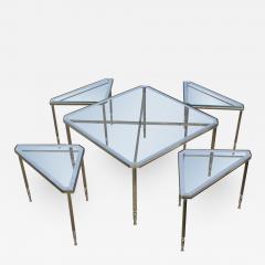 Maison Jansen 1950s Mid Century Modern Italian Brass Coffee Table With Nesting Side Tables - 1905059