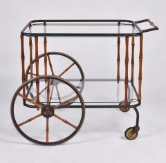 Maison Jansen 1960s French brass and bamboo drinks trolley bar cart by Maison Jansen - 1463631