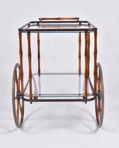 Maison Jansen 1960s French brass and bamboo drinks trolley bar cart by Maison Jansen - 1463633