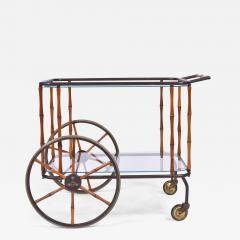 Maison Jansen 1960s French brass and bamboo drinks trolley bar cart by Maison Jansen - 1464983
