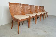 Maison Jansen 6 French Regency Louis XVI Style Cane Dining Chairs in Walnut - 1972451