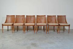 Maison Jansen 6 French Regency Louis XVI Style Cane Dining Chairs in Walnut - 1972452