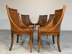 Maison Jansen 6 French Regency Louis XVI Style Cane Dining Chairs in Walnut - 1972453