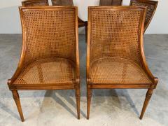 Maison Jansen 6 French Regency Louis XVI Style Cane Dining Chairs in Walnut - 1972456