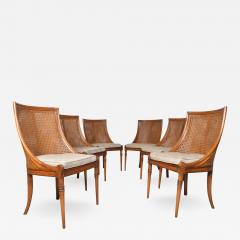Maison Jansen 6 French Regency Louis XVI Style Cane Dining Chairs in Walnut - 1973567