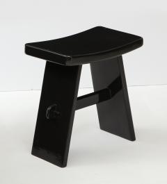 Maison Jansen Black lacquer stool in the style of Maison Jansen France 1970s - 1879001