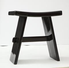 Maison Jansen Black lacquer stool in the style of Maison Jansen France 1970s - 1879003
