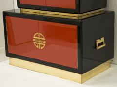 Maison Jansen Cabinet in lacquered wood and brass by Maison Jansen circa 1970 - 1060694