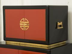 Maison Jansen Cabinet in lacquered wood and brass by Maison Jansen circa 1970 - 1060695