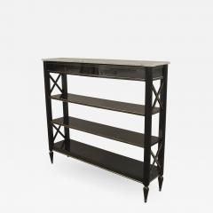 Maison Jansen French 1940s Ebonized with Gilt Trim Etagere Bookshelf - 470512