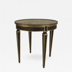 Maison Jansen French 1940s Empire style Ebonized and Gilt Trim Round End Table - 464921