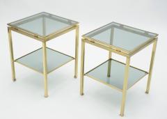 Maison Jansen French Brass end tables Guy Lefevre for Maison Jansen 1970s - 1114917