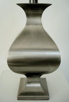 Maison Jansen French Brushed Stainless Steel Table Lamp by Francois See for Maison Jansen - 2053778