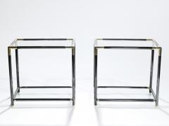 Maison Jansen French gunmetal and brass end tables 1970s - 983721