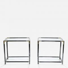 Maison Jansen French gunmetal and brass end tables 1970s - 986538