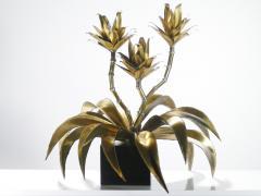 Maison Jansen Hollywood Regency Pair of Maison Jansen brass flower lamps 1970s - 983698