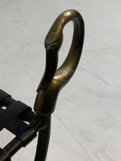 Maison Jansen MAISION JANSEN BLACKENED STEEL AND BRONZE SWAN HEAD BENCHES - 1032339