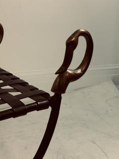 Maison Jansen MAISION JANSEN BLACKENED STEEL AND BRONZE SWAN HEAD BENCHES - 1032340