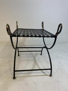 Maison Jansen MAISION JANSEN BLACKENED STEEL AND BRONZE SWAN HEAD BENCHES - 1032343