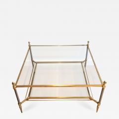 Maison Jansen MID CENTURY MAISON JANSEN BRASS COFFEE TABLE WITH 2 TIERS GLASS SHELVES - 821141