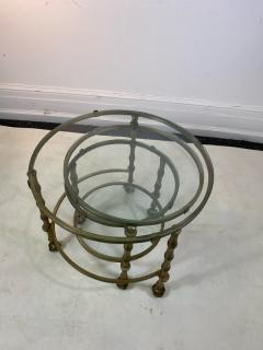 Maison Jansen MODERN SOLID BRASS FAUX BAMBOO EXPANSION NESTING TABLES - 1569368