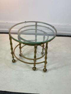 Maison Jansen MODERN SOLID BRASS FAUX BAMBOO EXPANSION NESTING TABLES - 1569369